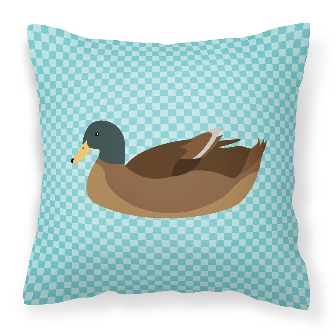 Khaki Campbell Duck Blue Check Fabric Decorative Pillow BB8040PW1818 by Caroline's Treasures