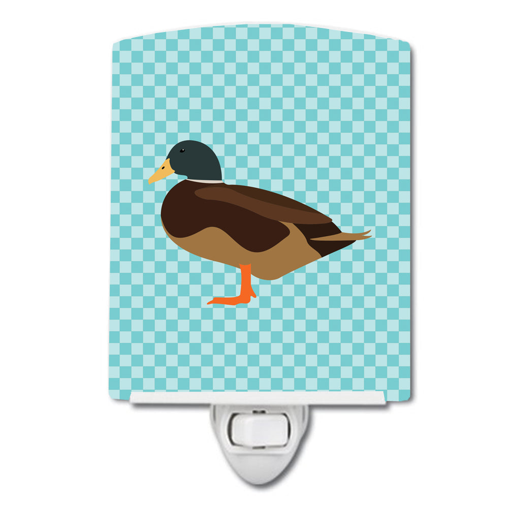 Silver Bantam Duck Blue Check Ceramic Night Light BB8041CNL by Caroline's Treasures