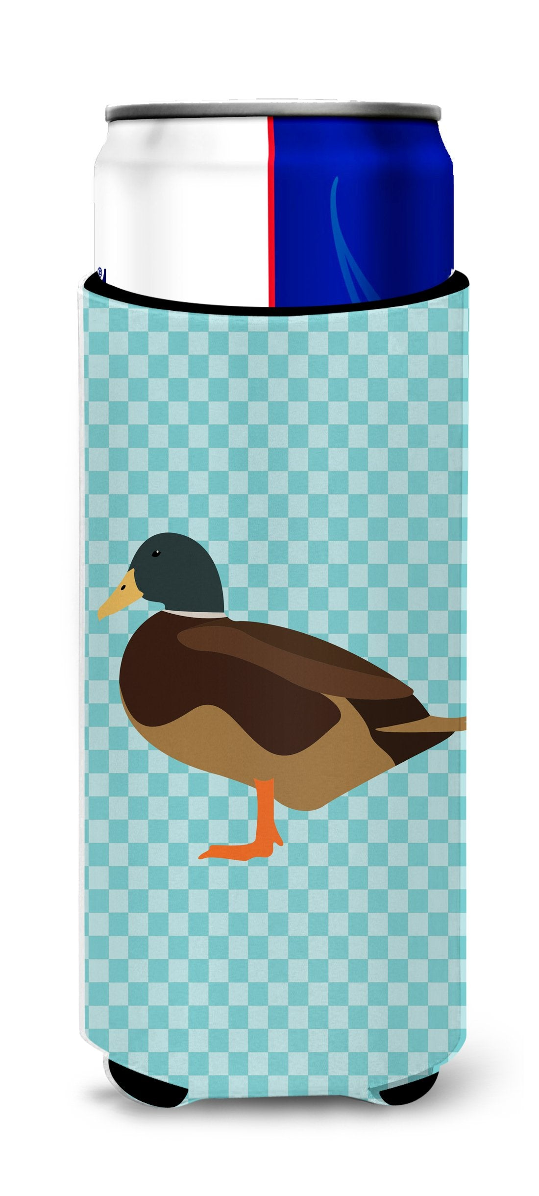 Silver Bantam Duck Blue Check Michelob Ultra Hugger for slim cans by Caroline's Treasures