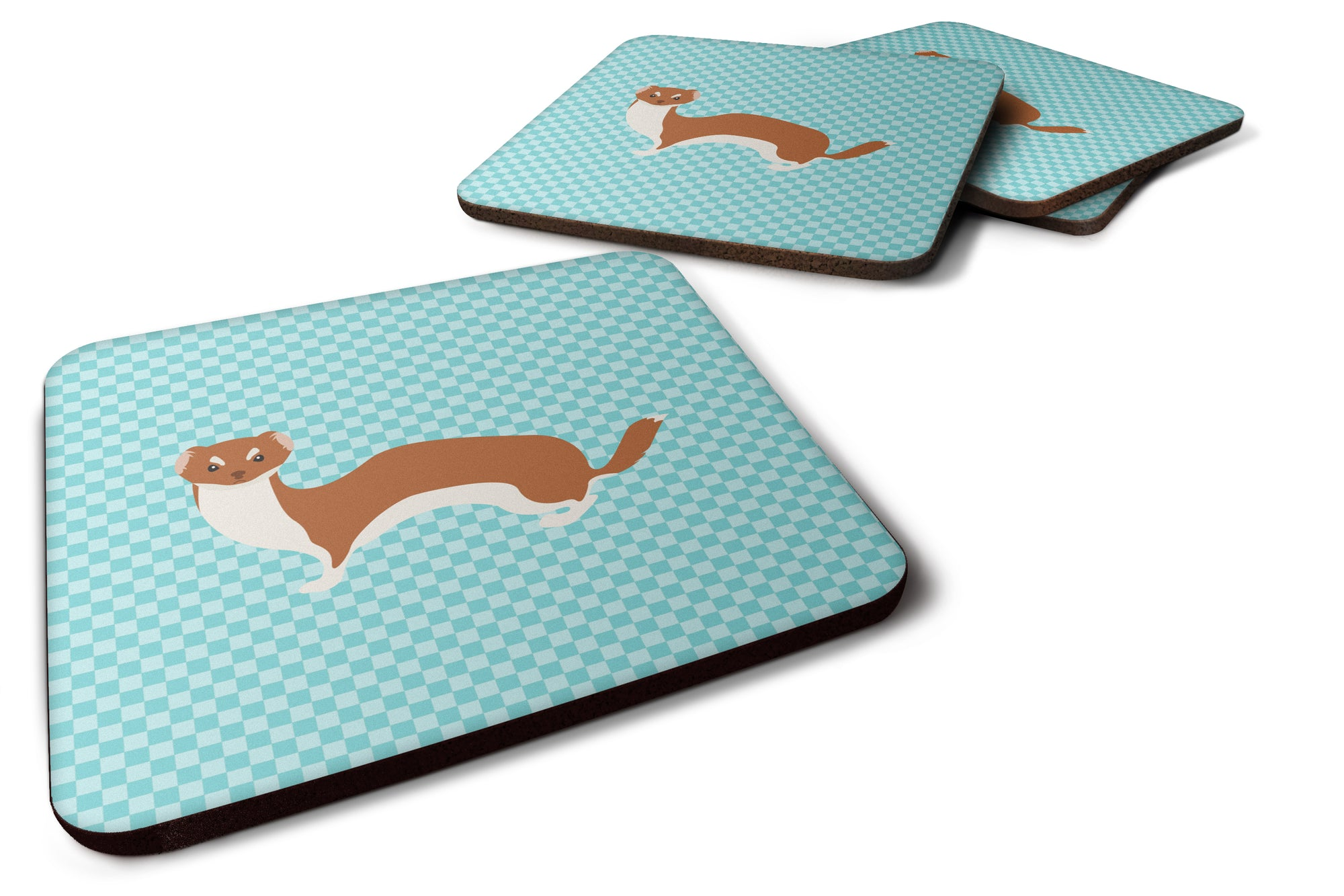 Buy this Set of 4 Weasel Blue Check Foam Coasters Set of 4