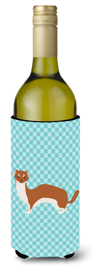 Buy this Weasel Blue Check Wine Bottle Beverge Insulator Hugger BB8044LITERK