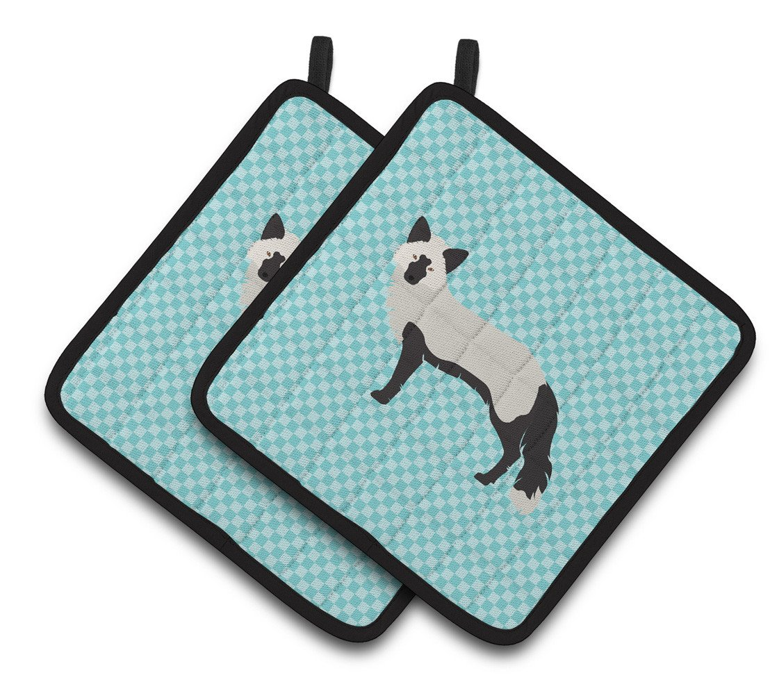 Silver Fox Blue Check Pair of Pot Holders BB8045PTHD by Caroline's Treasures