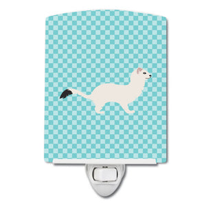 Buy this Stoat Short-tailed Weasel Blue Check Ceramic Night Light BB8046CNL