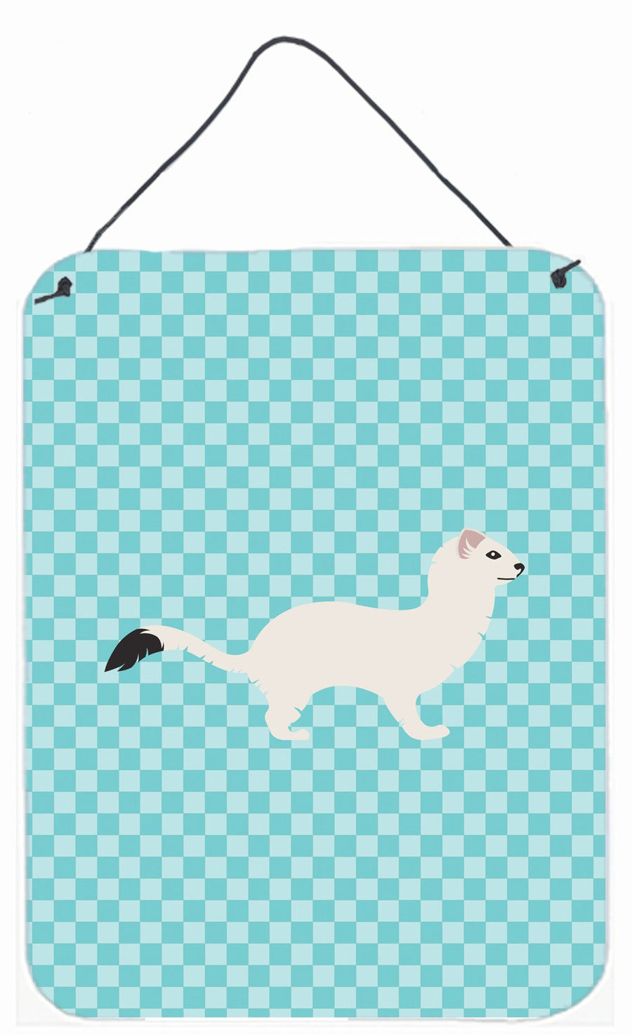 Buy this Stoat Short-tailed Weasel Blue Check Wall or Door Hanging Prints BB8046DS1216