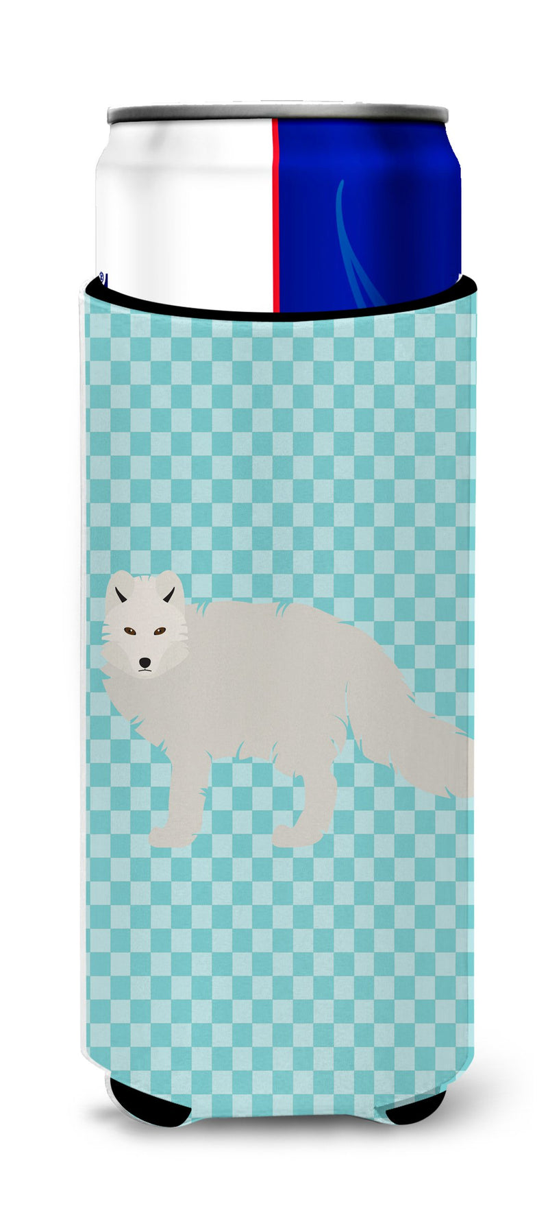Buy this White Arctic Fox Blue Check Michelob Ultra Hugger for slim cans