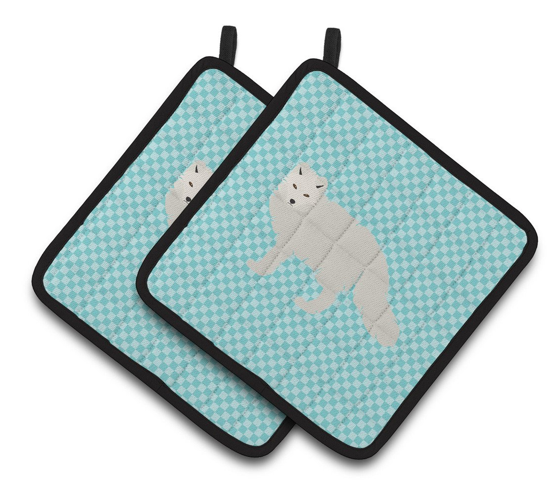 Buy this White Arctic Fox Blue Check Pair of Pot Holders BB8051PTHD