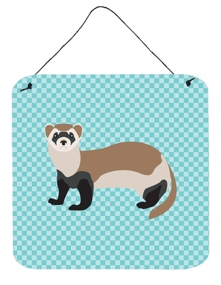 Buy this Ferret Blue Check Wall or Door Hanging Prints BB8052DS66