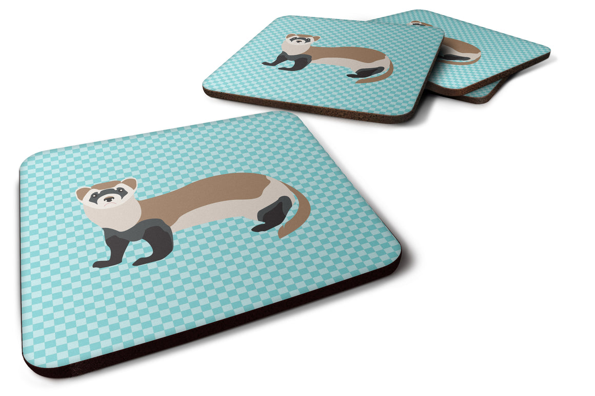 Buy this Ferret Blue Check Foam Coaster Set of 4 BB8052FC