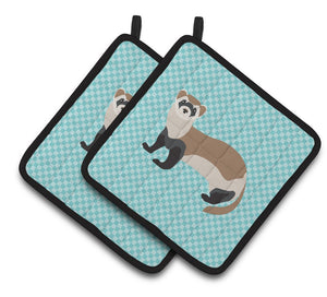Buy this Ferret Blue Check Pair of Pot Holders BB8052PTHD