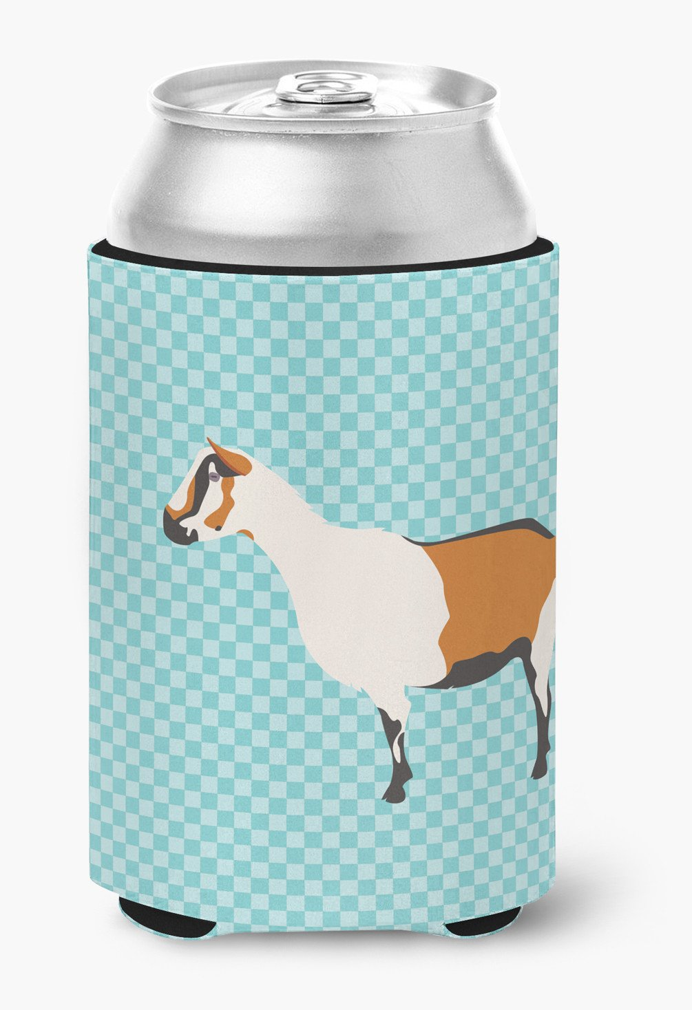 Alpine Goat Blue Check Can or Bottle Hugger BB8054CC by Caroline's Treasures
