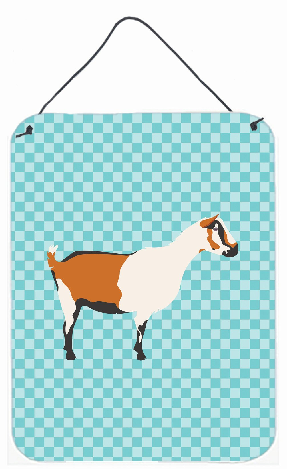 Alpine Goat Blue Check Wall or Door Hanging Prints BB8054DS1216 by Caroline's Treasures