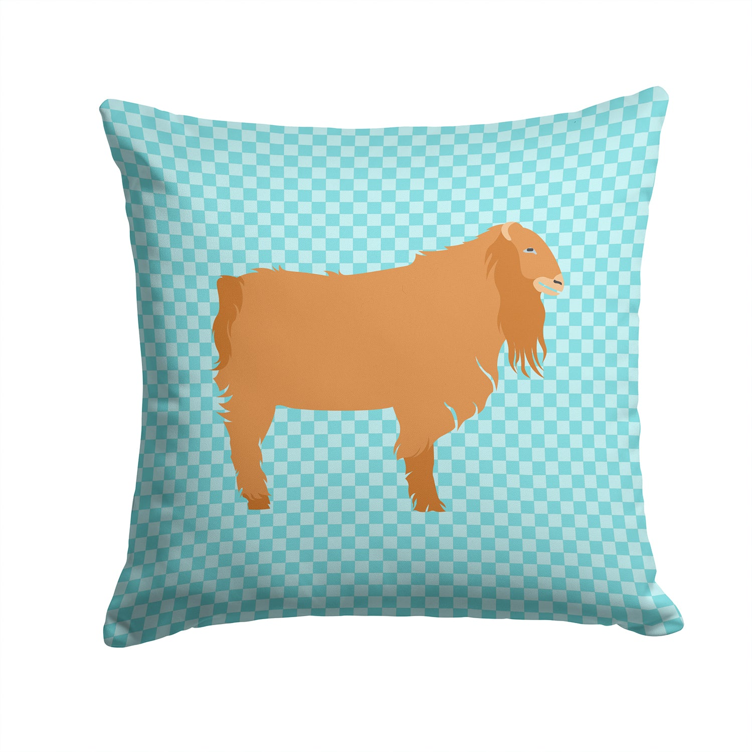 Buy this American Lamancha Goat Blue Check Fabric Decorative Pillow BB8059PW1414
