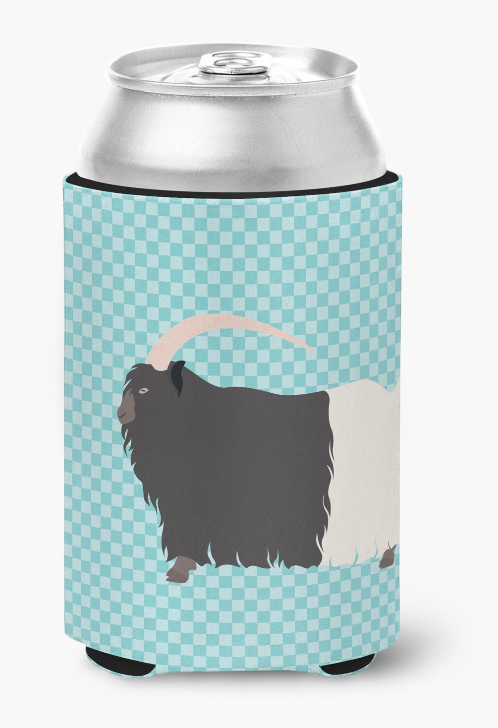 Welsh Black-Necked Goat Blue Check Can or Bottle Hugger BB8061CC by Caroline's Treasures