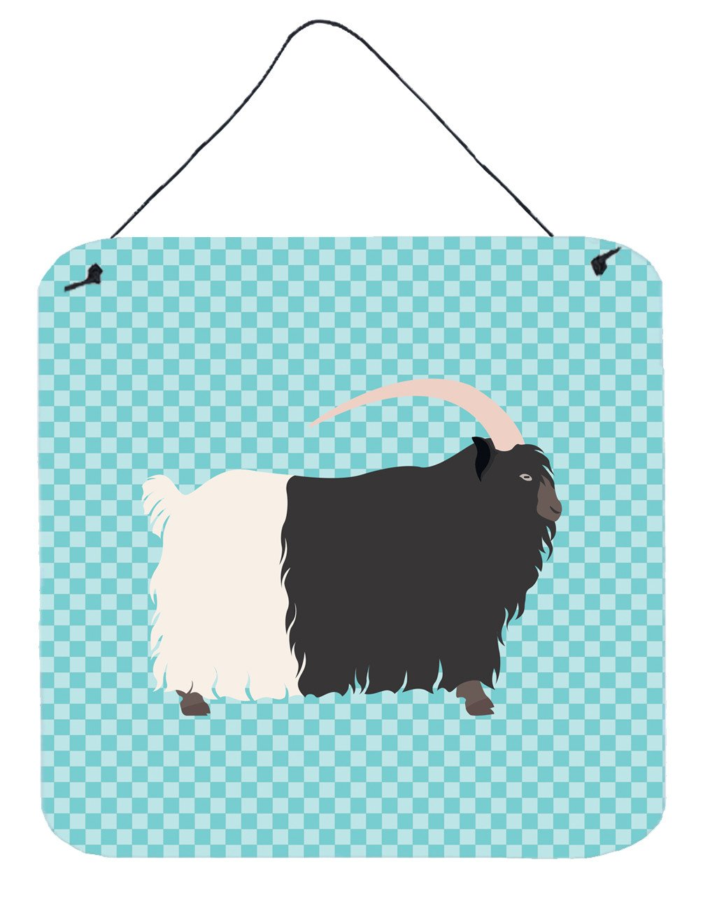 Welsh Black-Necked Goat Blue Check Wall or Door Hanging Prints BB8061DS66 by Caroline's Treasures