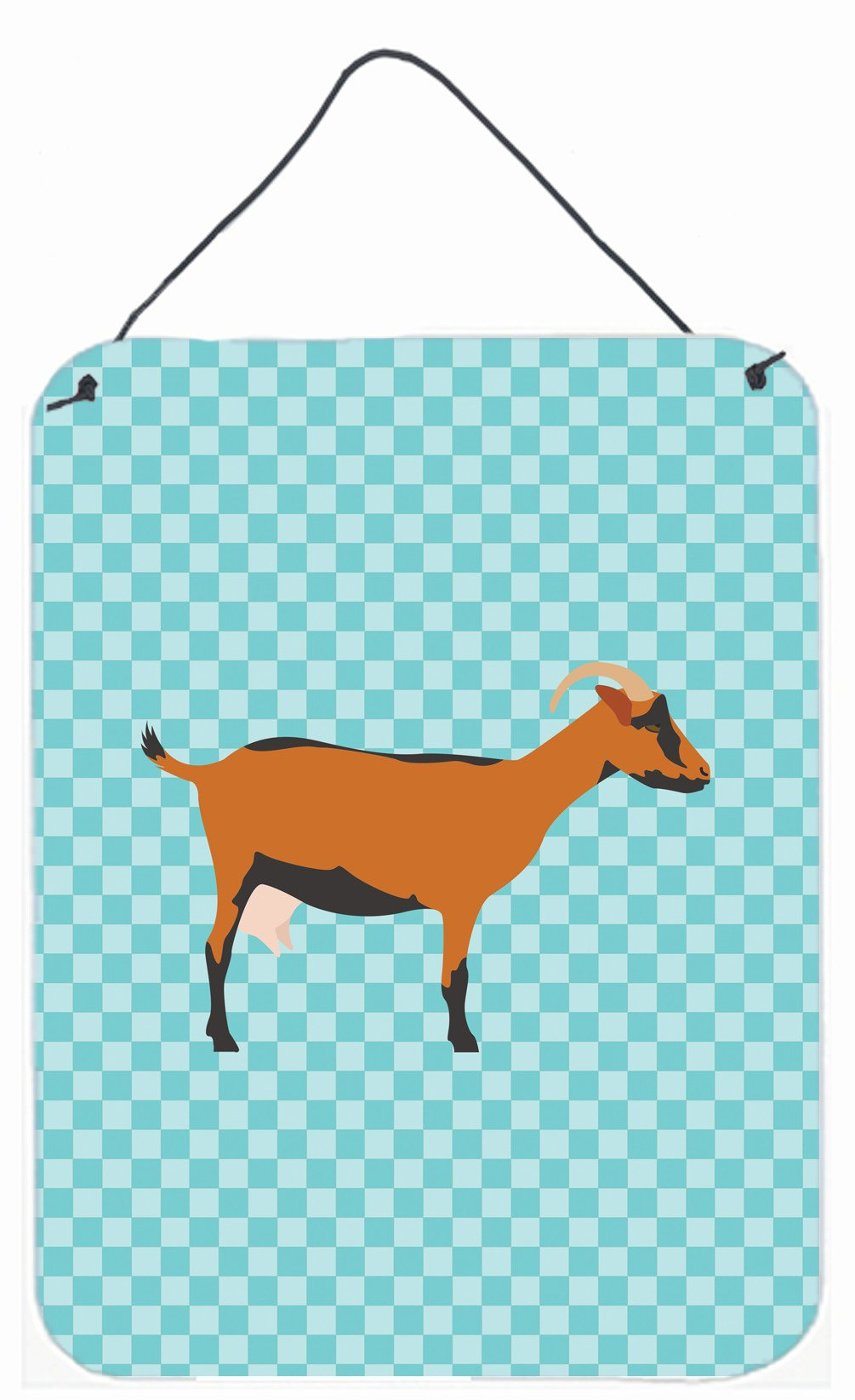 Oberhasli Goat Blue Check Wall or Door Hanging Prints BB8062DS1216 by Caroline's Treasures
