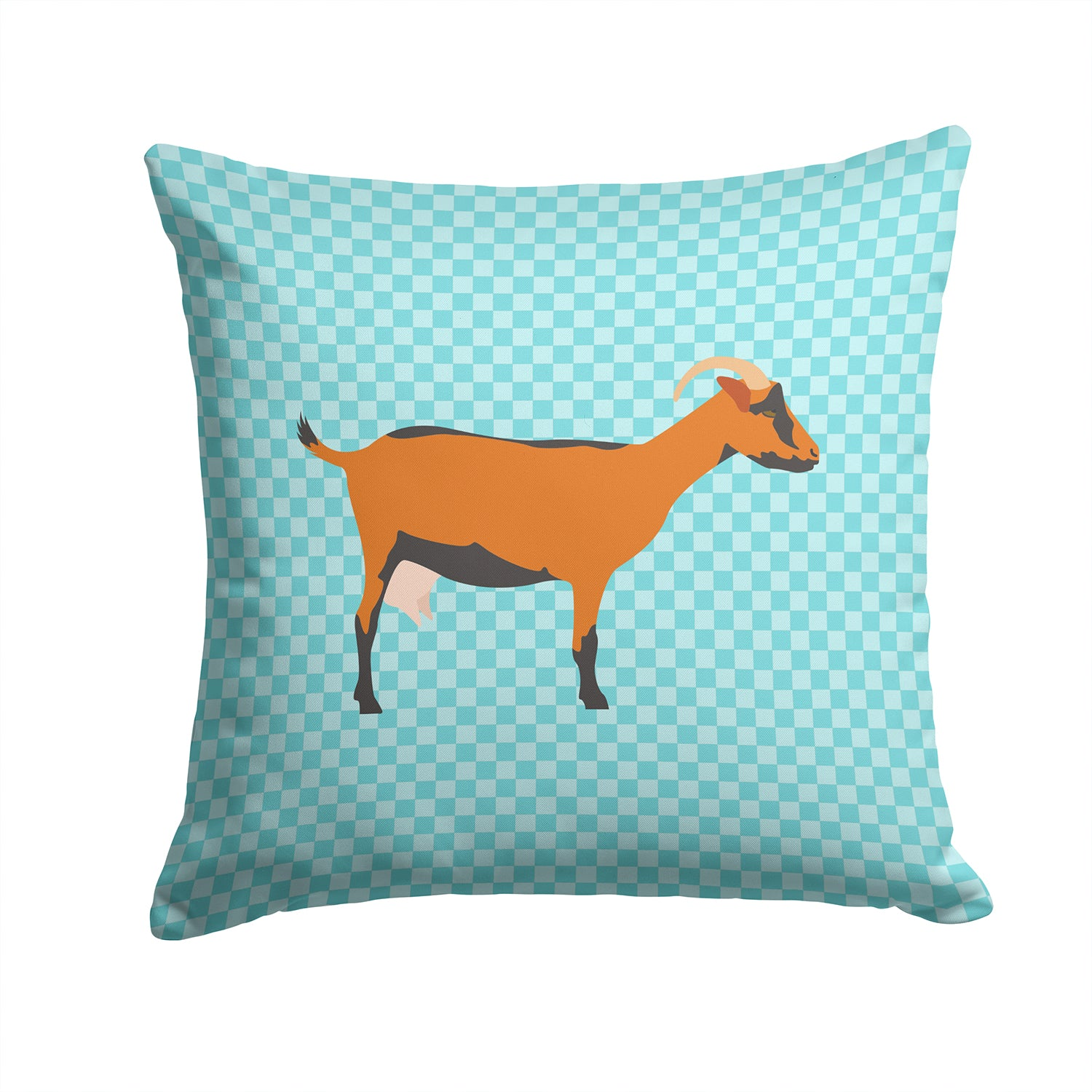 Oberhasli Goat Blue Check Fabric Decorative Pillow BB8062PW1414 by Caroline's Treasures