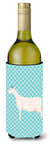 Saanen Goat Blue Check Wine Bottle Beverge Insulator Hugger BB8063LITERK by Caroline's Treasures