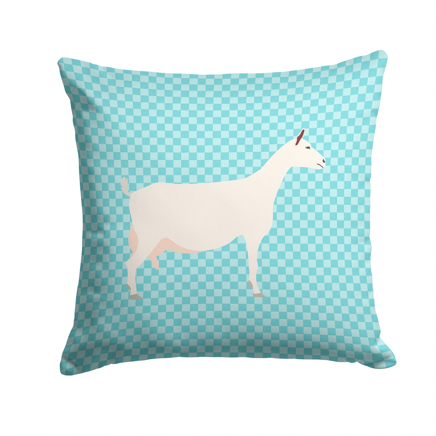 Saanen Goat Blue Check Fabric Decorative Pillow BB8063PW1414 by Caroline's Treasures