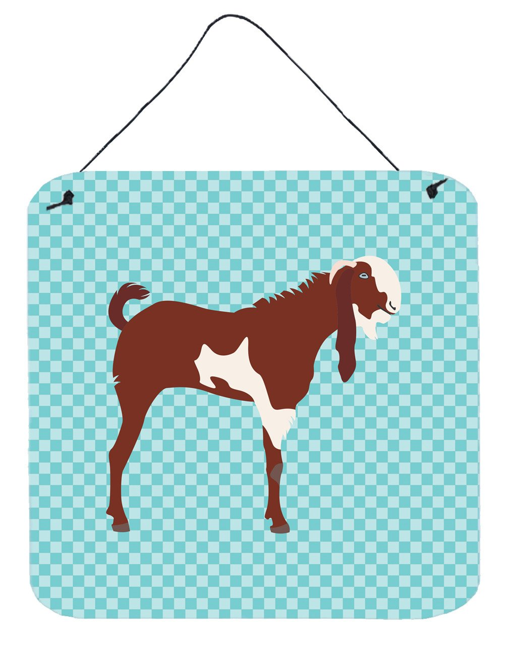 Jamnapari Goat Blue Check Wall or Door Hanging Prints BB8064DS66 by Caroline's Treasures
