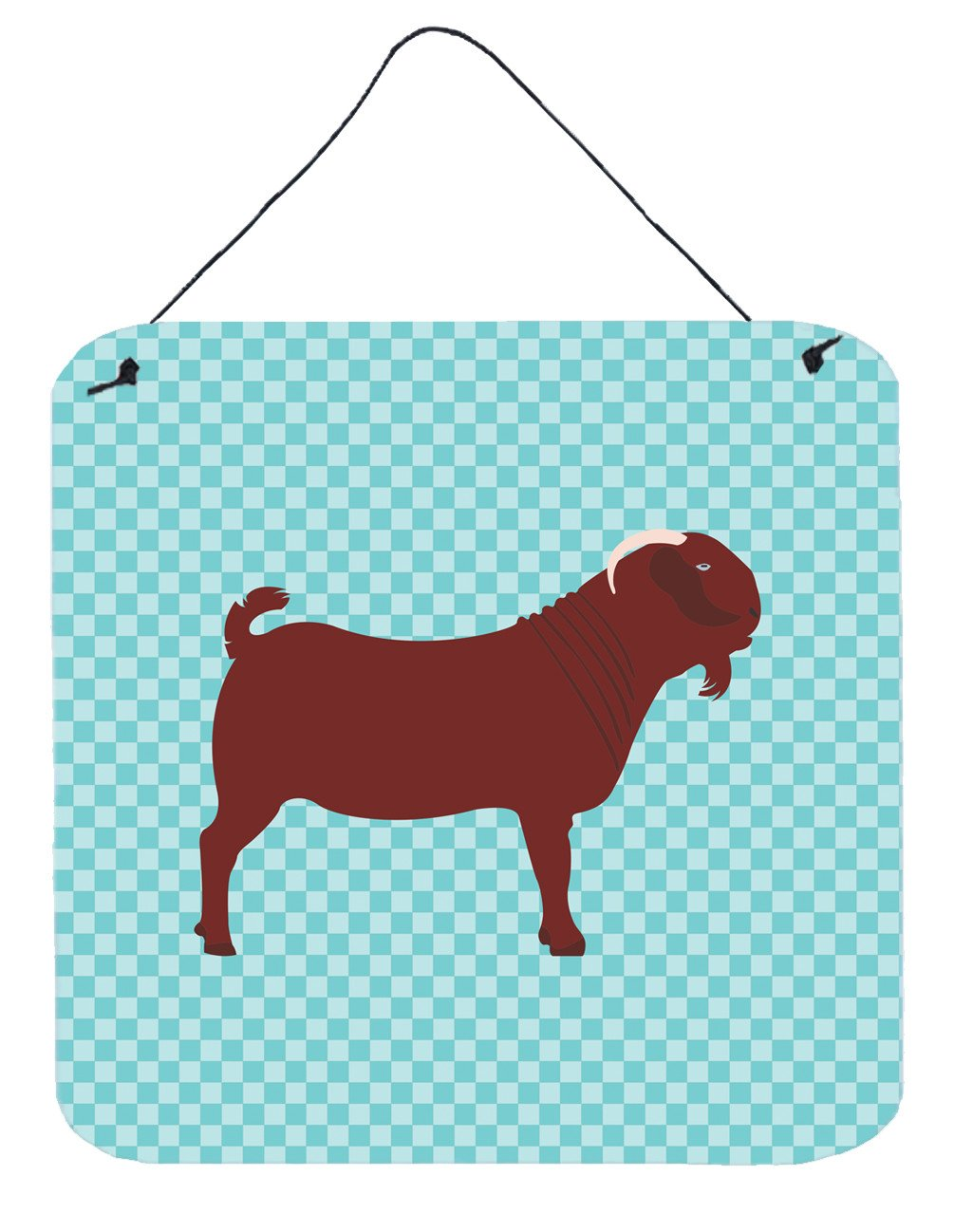 Kalahari Red Goat Blue Check Wall or Door Hanging Prints BB8065DS66 by Caroline's Treasures