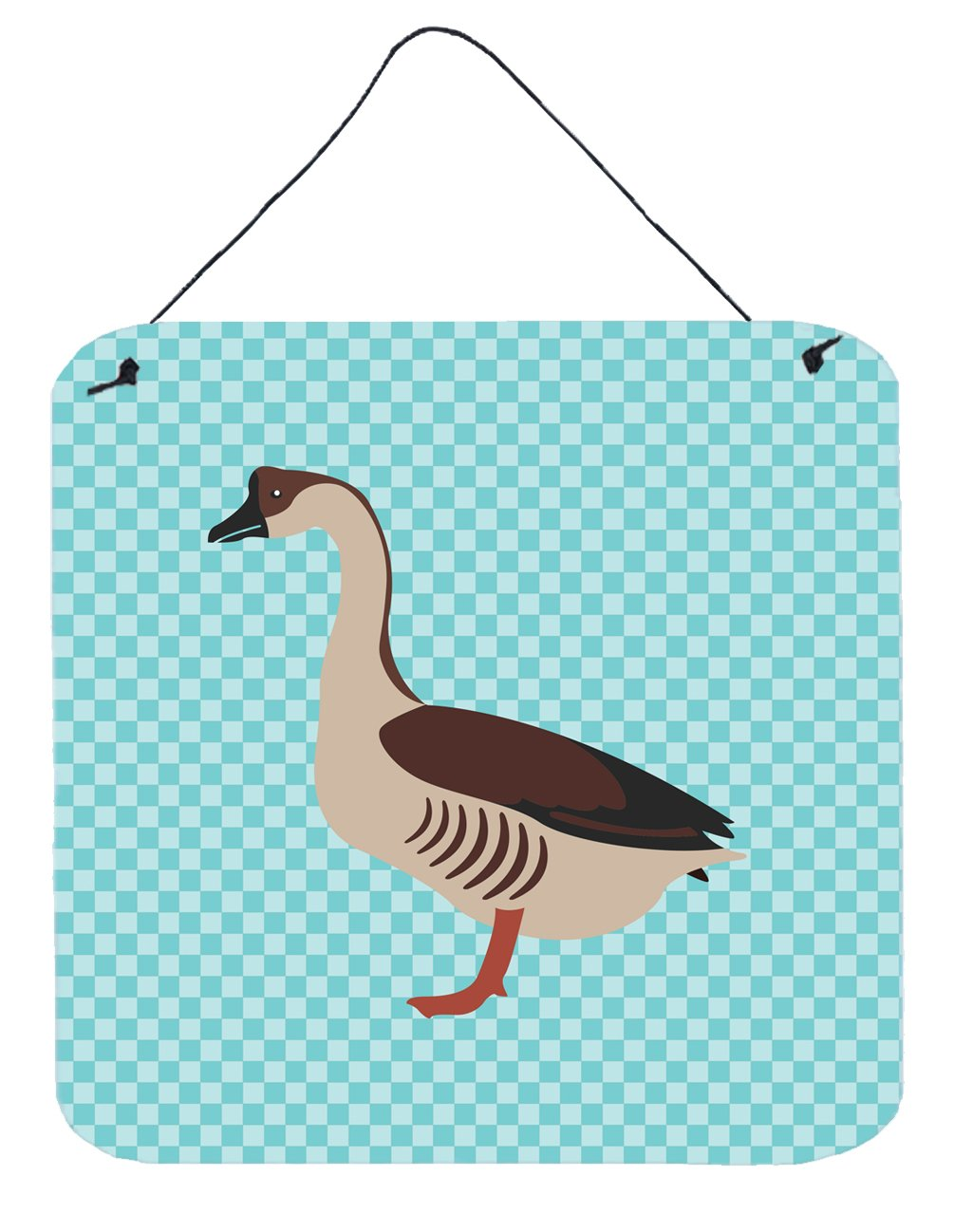 Chinese Goose Blue Check Wall or Door Hanging Prints by Caroline's Treasures