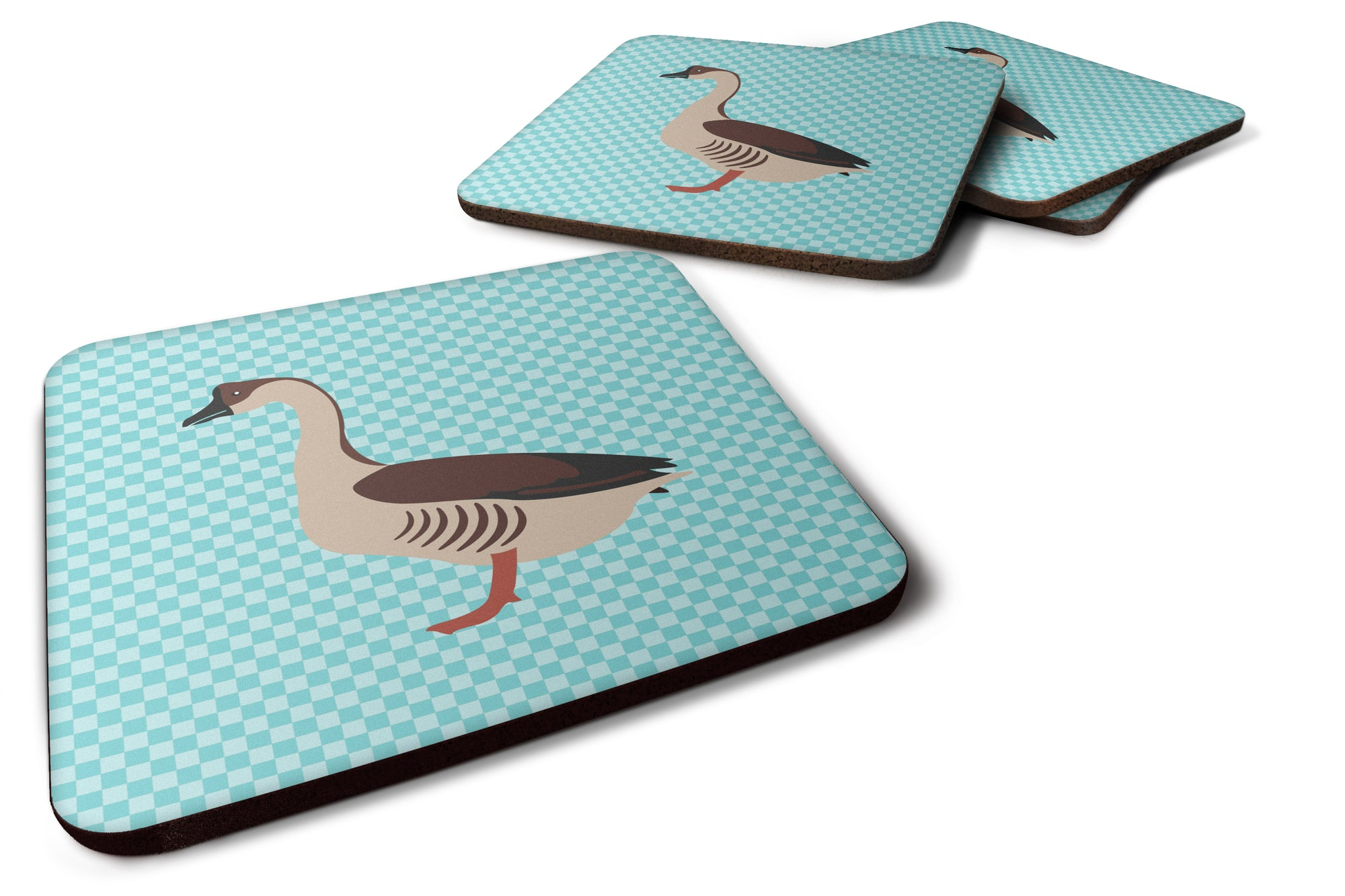 Chinese Goose Blue Check Foam Coaster Set of 4 BB8070FC by Caroline's Treasures