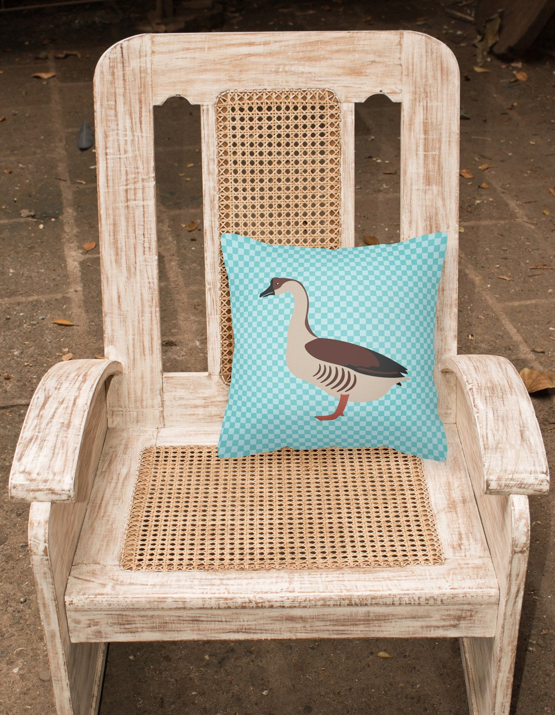 Chinese Goose Blue Check Fabric Decorative Pillow BB8070PW1818 by Caroline's Treasures