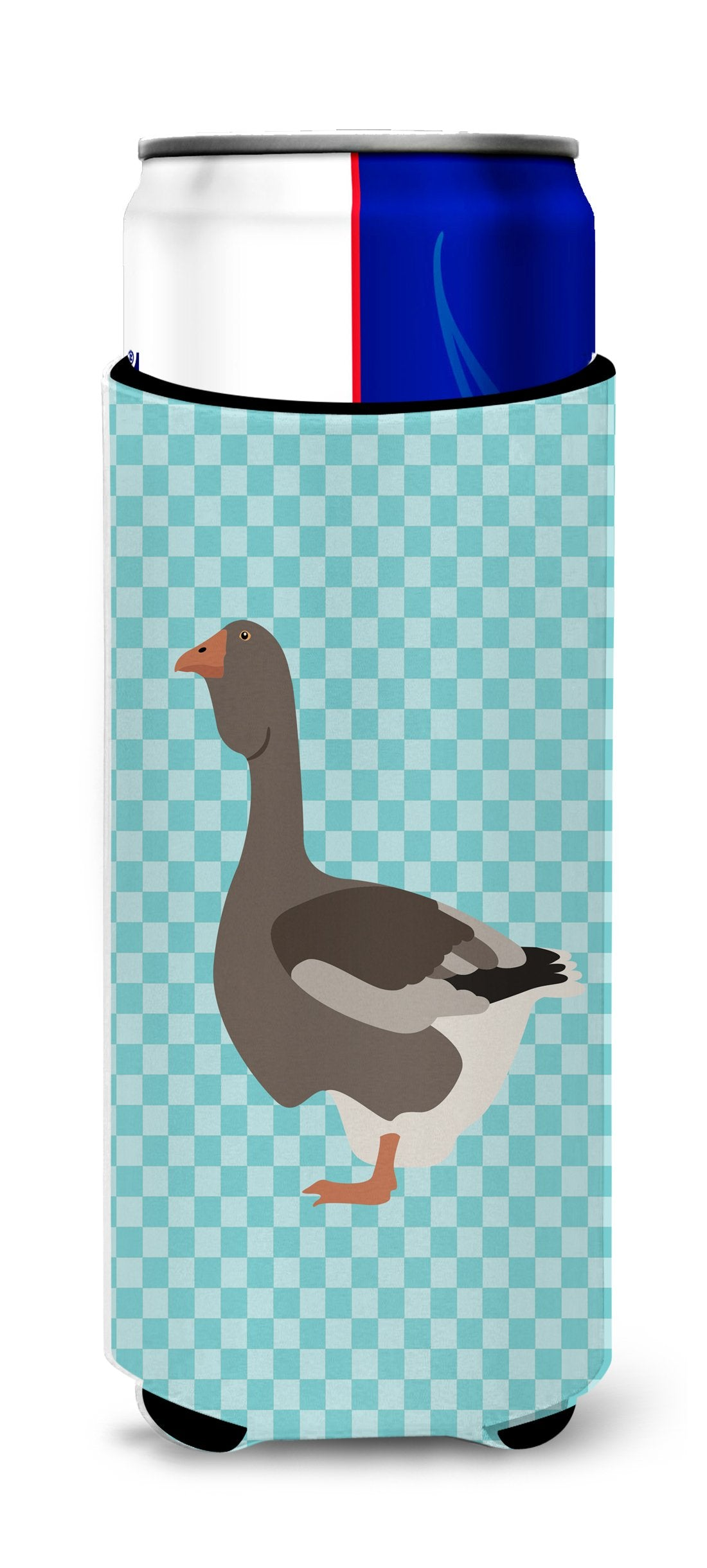Toulouse Goose Blue Check Michelob Ultra Hugger for slim cans by Caroline's Treasures