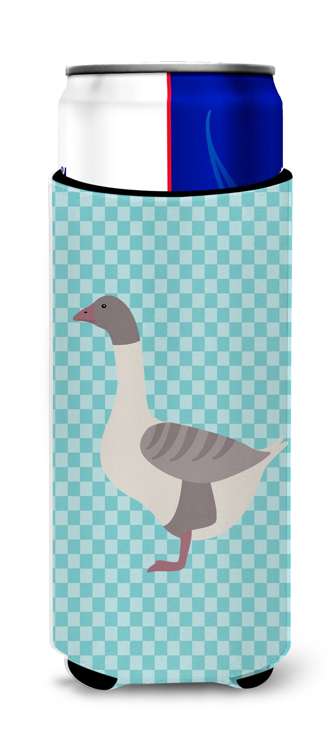 Buff Grey Back Goose Blue Check Michelob Ultra Hugger for slim cans by Caroline's Treasures