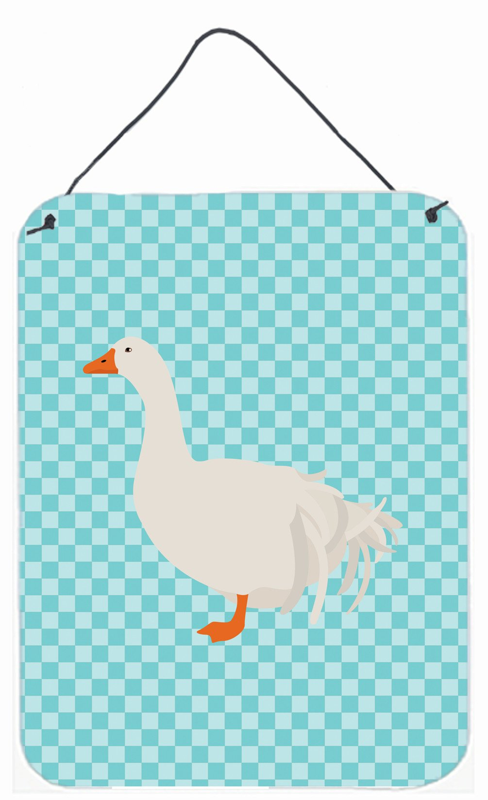 Sebastopol Goose Blue Check Wall or Door Hanging Prints BB8076DS1216 by Caroline's Treasures