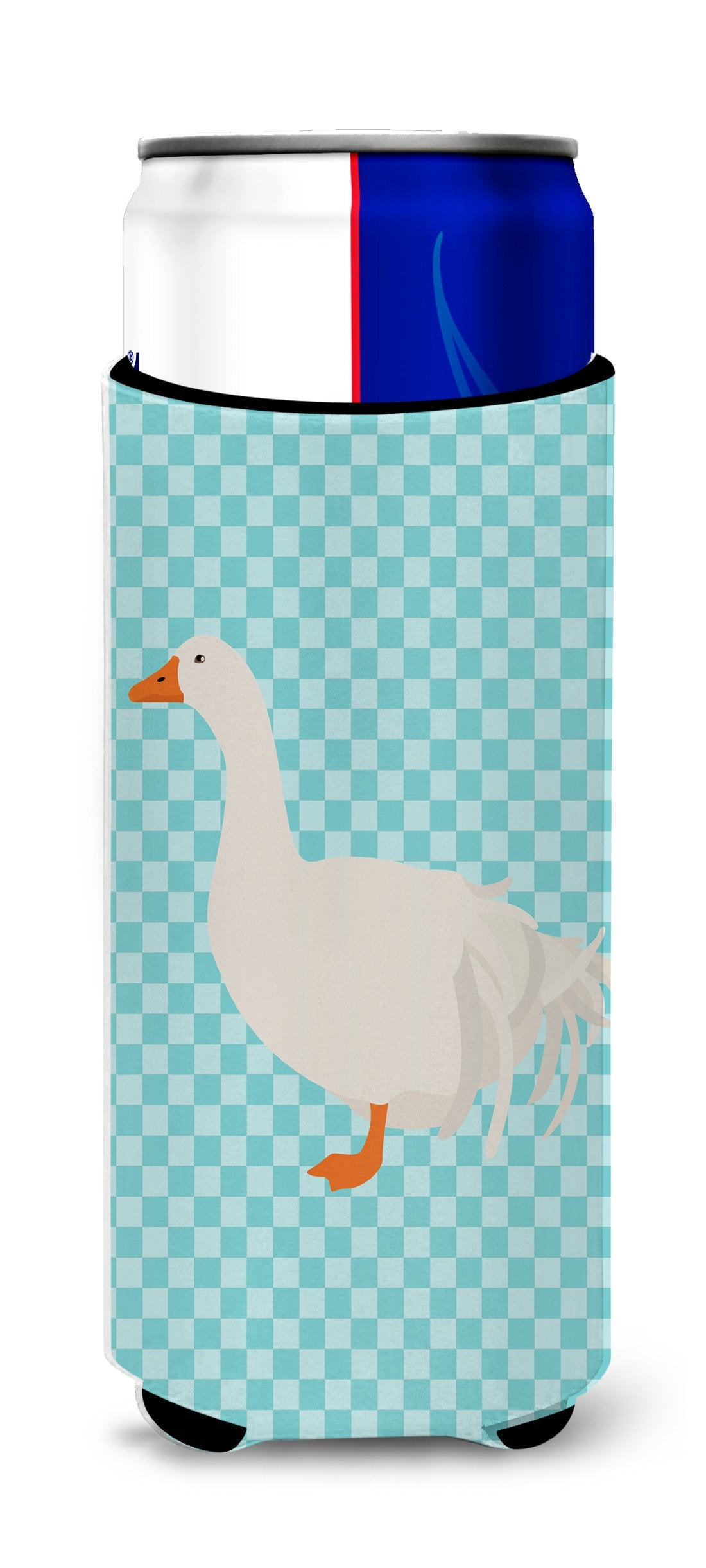 Sebastopol Goose Blue Check Michelob Ultra Hugger for slim cans by Caroline's Treasures