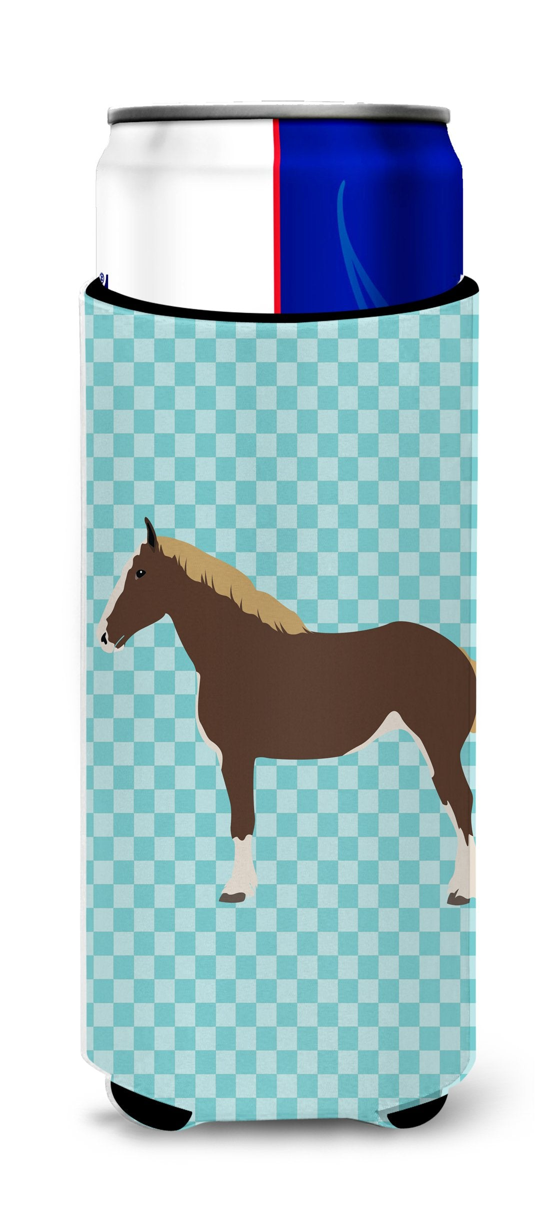 Percheron Horse Blue Check Michelob Ultra Hugger for slim cans by Caroline's Treasures