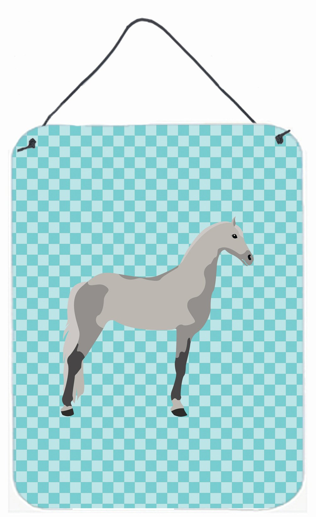 Buy this Orlov Trotter Horse Blue Check Wall or Door Hanging Prints BB8082DS1216