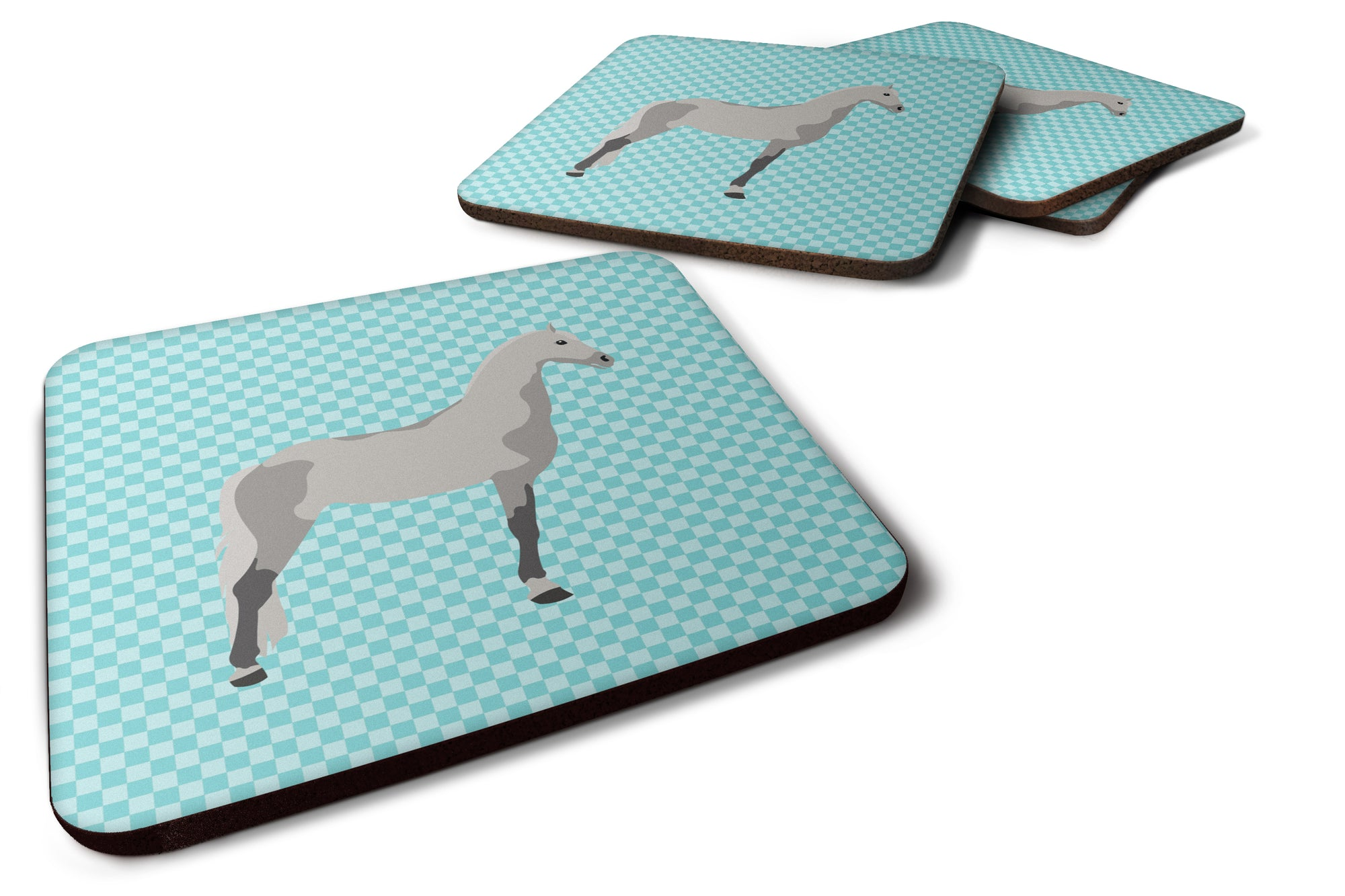 Buy this Orlov Trotter Horse Blue Check Foam Coaster Set of 4 BB8082FC