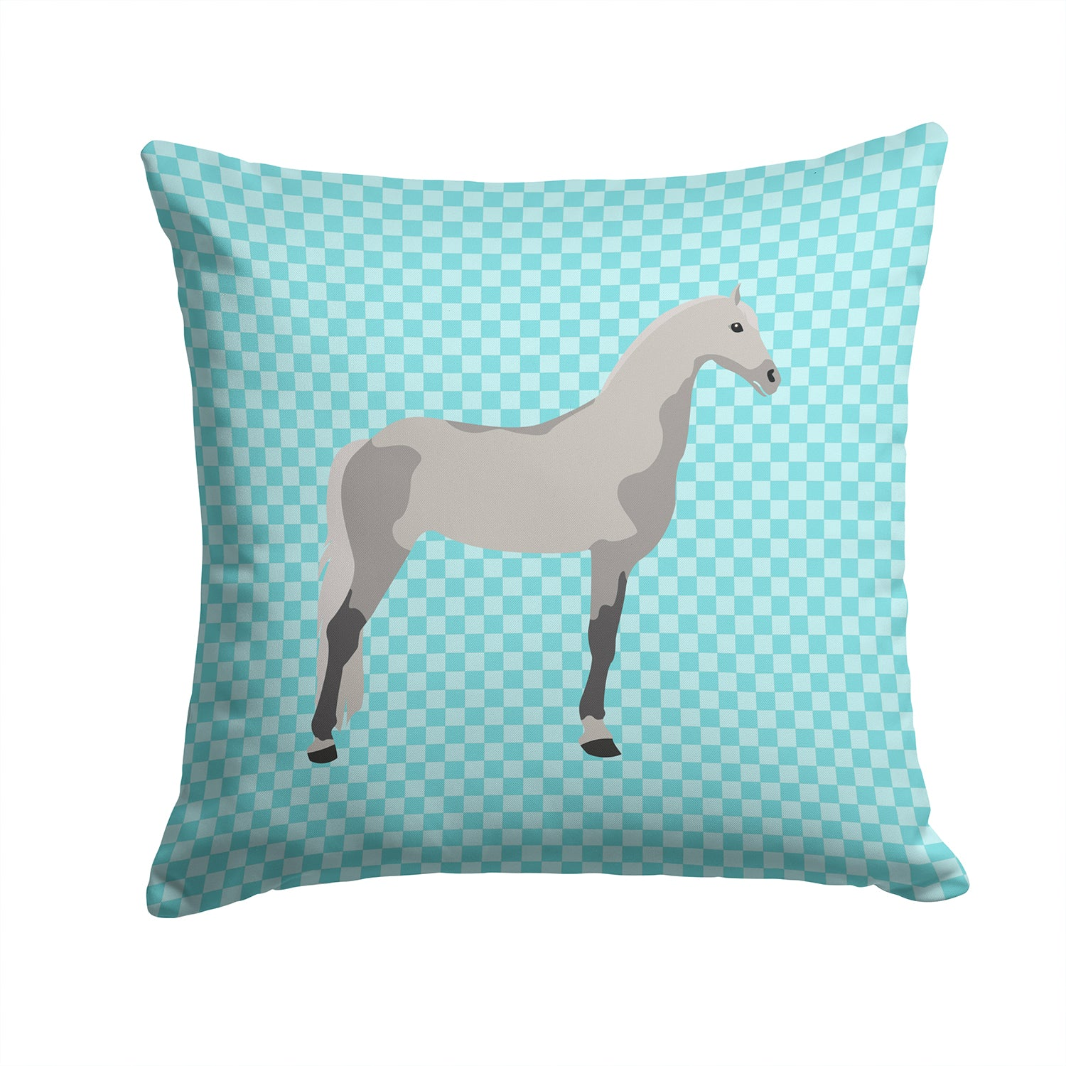 Orlov Trotter Horse Blue Check Fabric Decorative Pillow BB8082PW1414 by Caroline's Treasures
