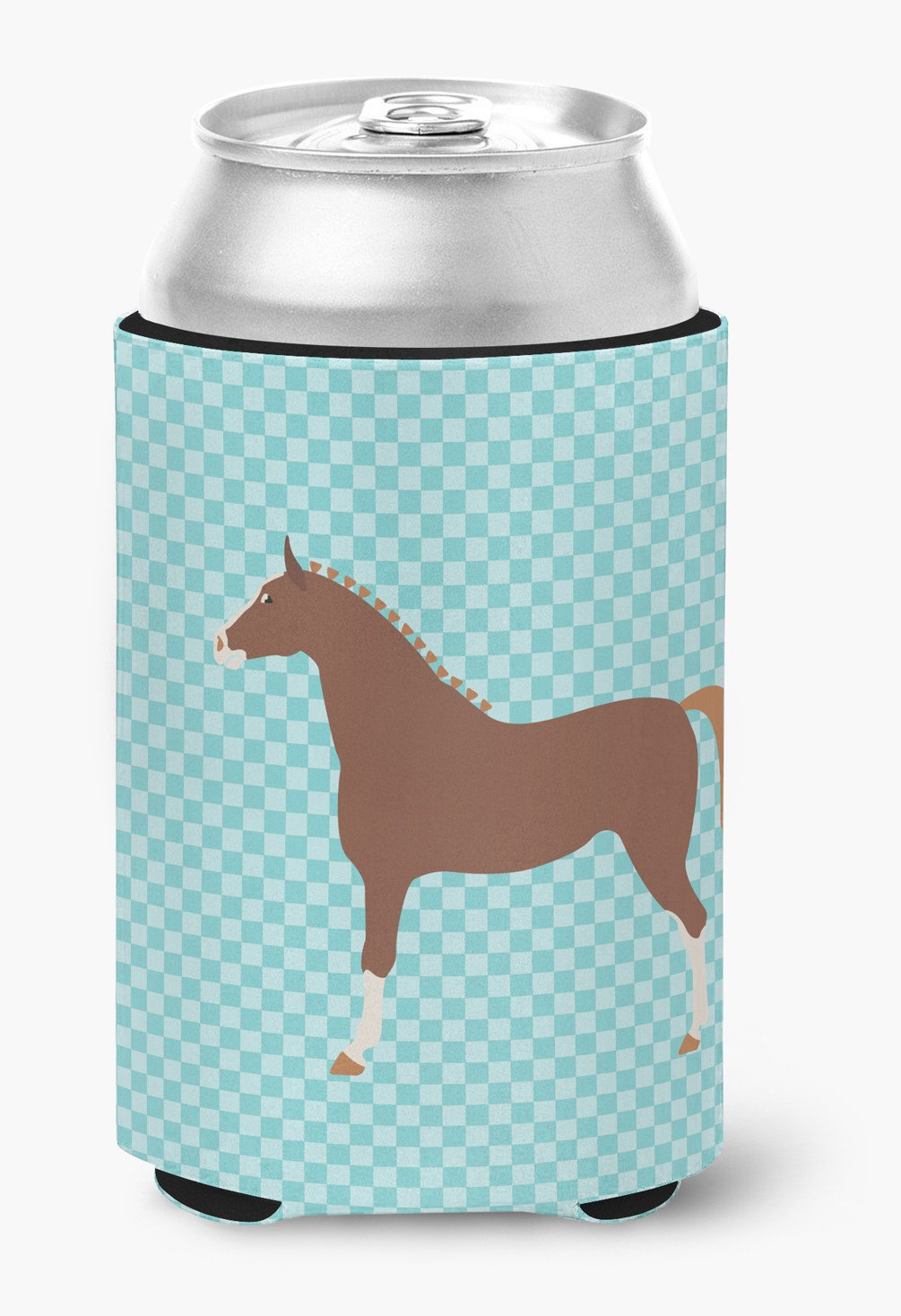 Hannoverian Horse Blue Check Can or Bottle Hugger BB8083CC by Caroline's Treasures