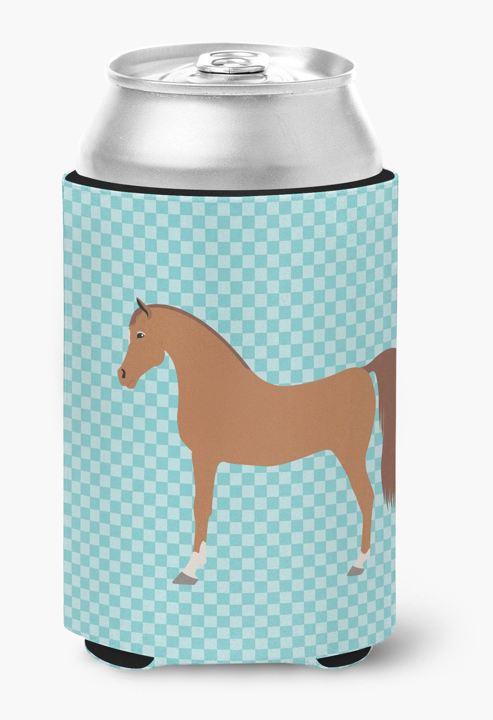 Arabian Horse Blue Check Can or Bottle Hugger BB8085CC by Caroline's Treasures