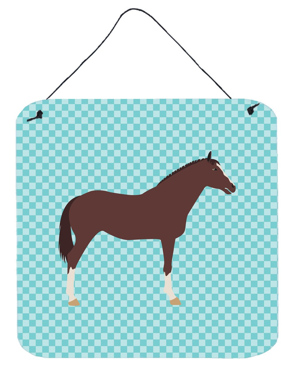 Buy this English Thoroughbred Horse Blue Check Wall or Door Hanging Prints BB8087DS66