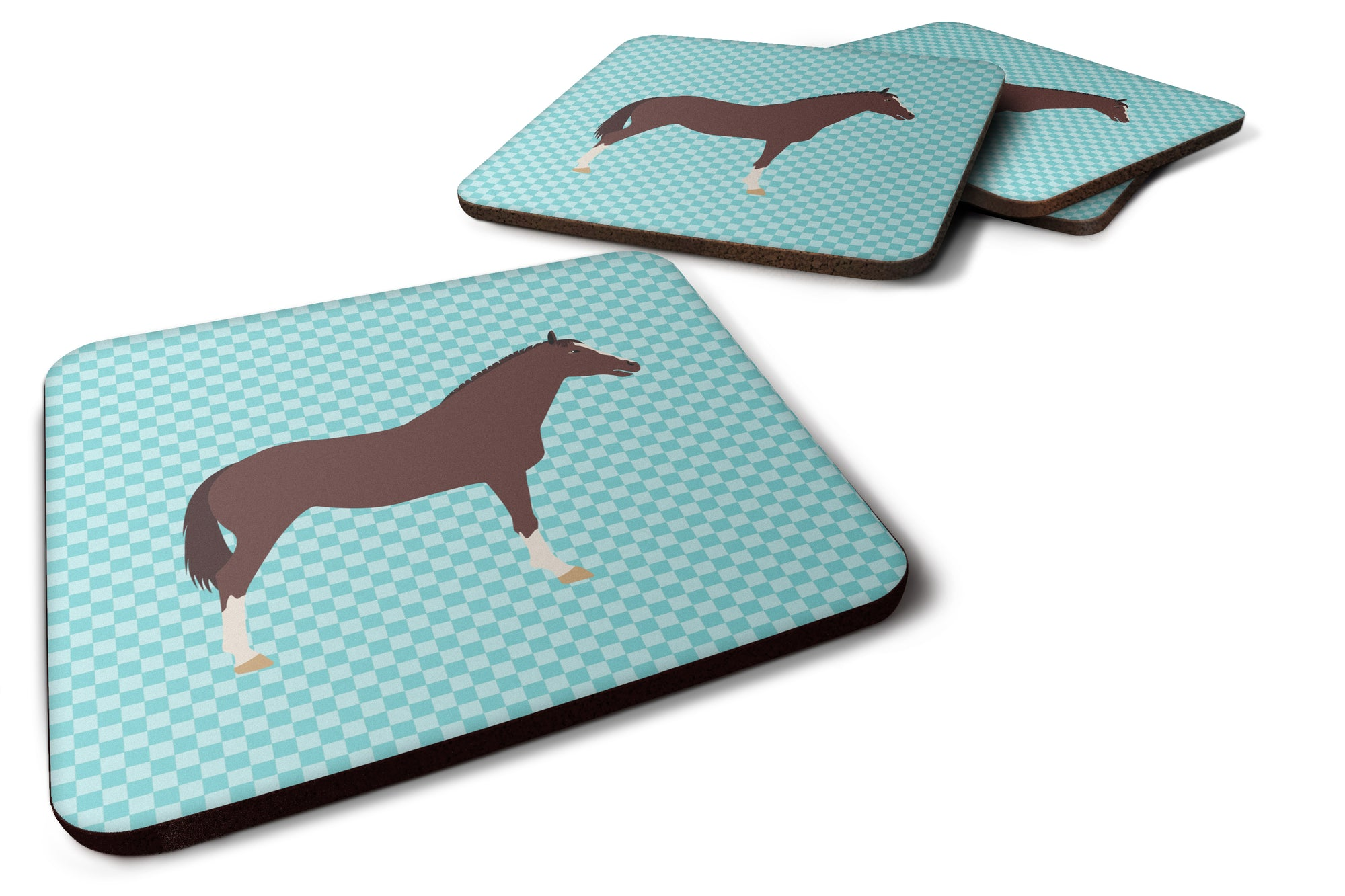 English Thoroughbred Horse Blue Check Foam Coaster Set of 4 BB8087FC by Caroline's Treasures