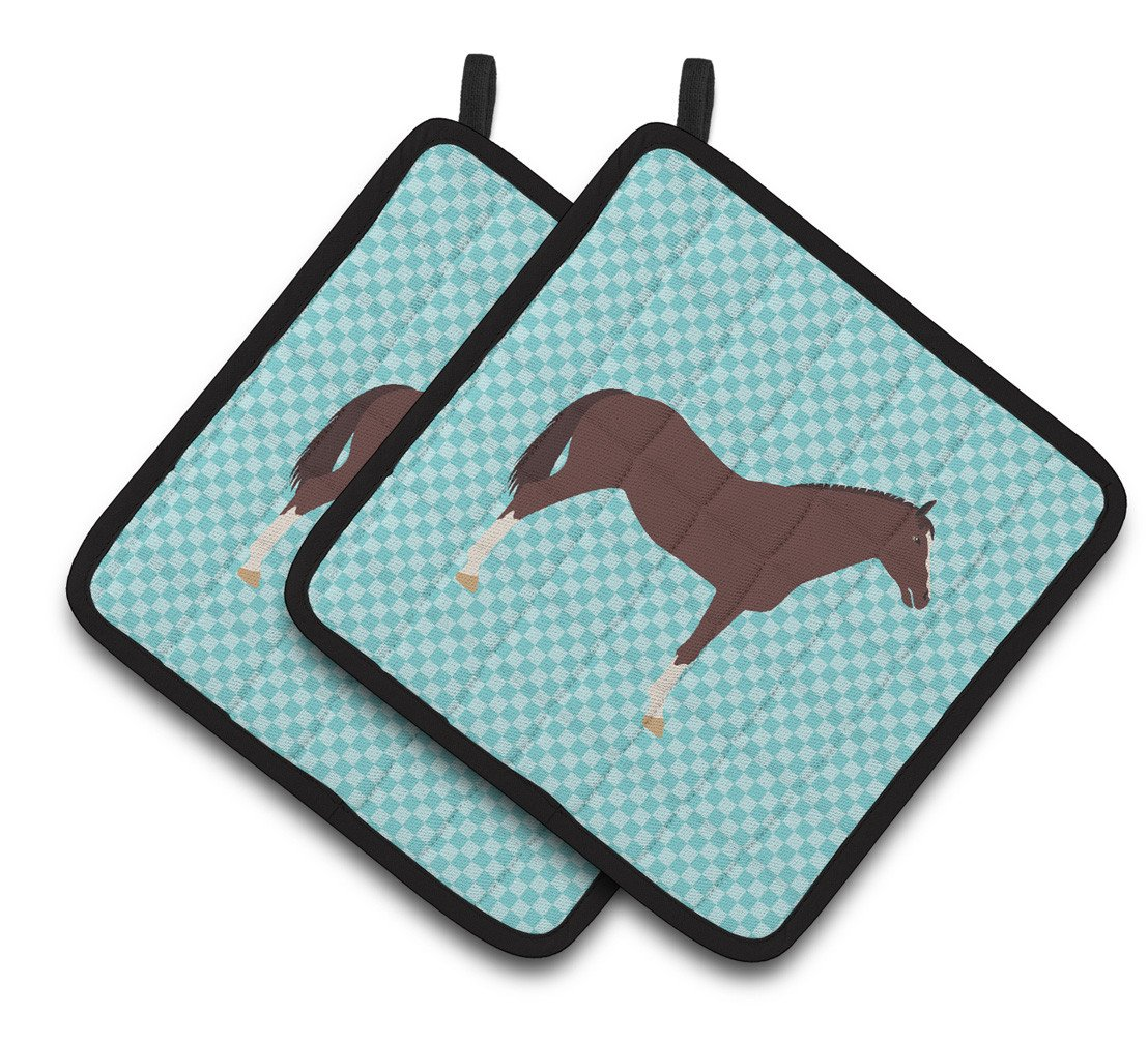 Buy this English Thoroughbred Horse Blue Check Pair of Pot Holders BB8087PTHD