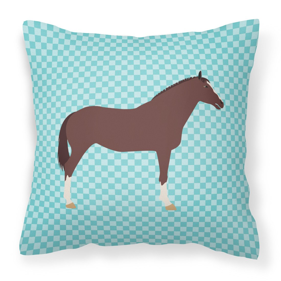 English Thoroughbred Horse Blue Check Fabric Decorative Pillow BB8087PW1818 by Caroline's Treasures