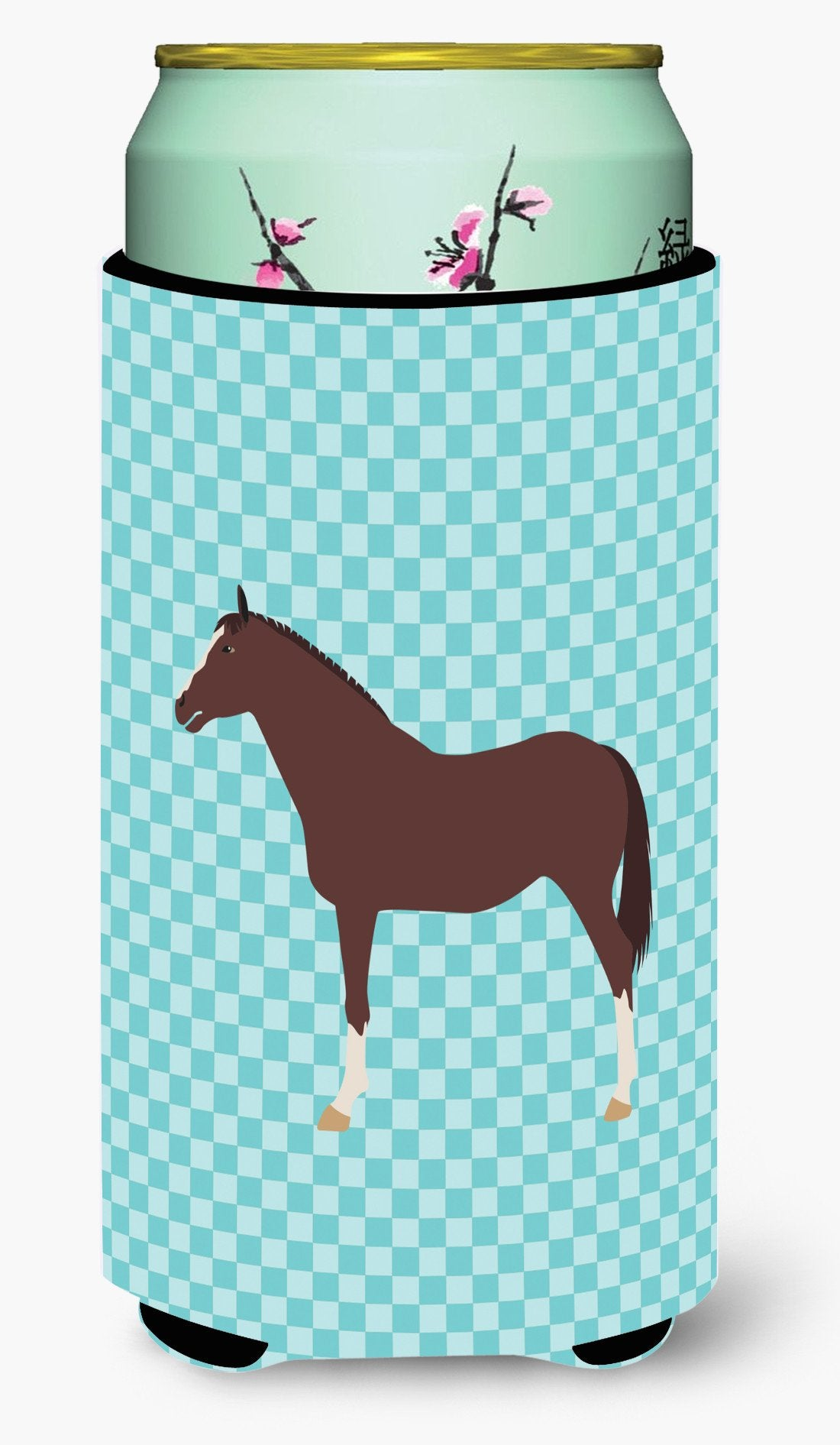 English Thoroughbred Horse Blue Check Tall Boy Beverage Insulator Hugger BB8087TBC by Caroline's Treasures