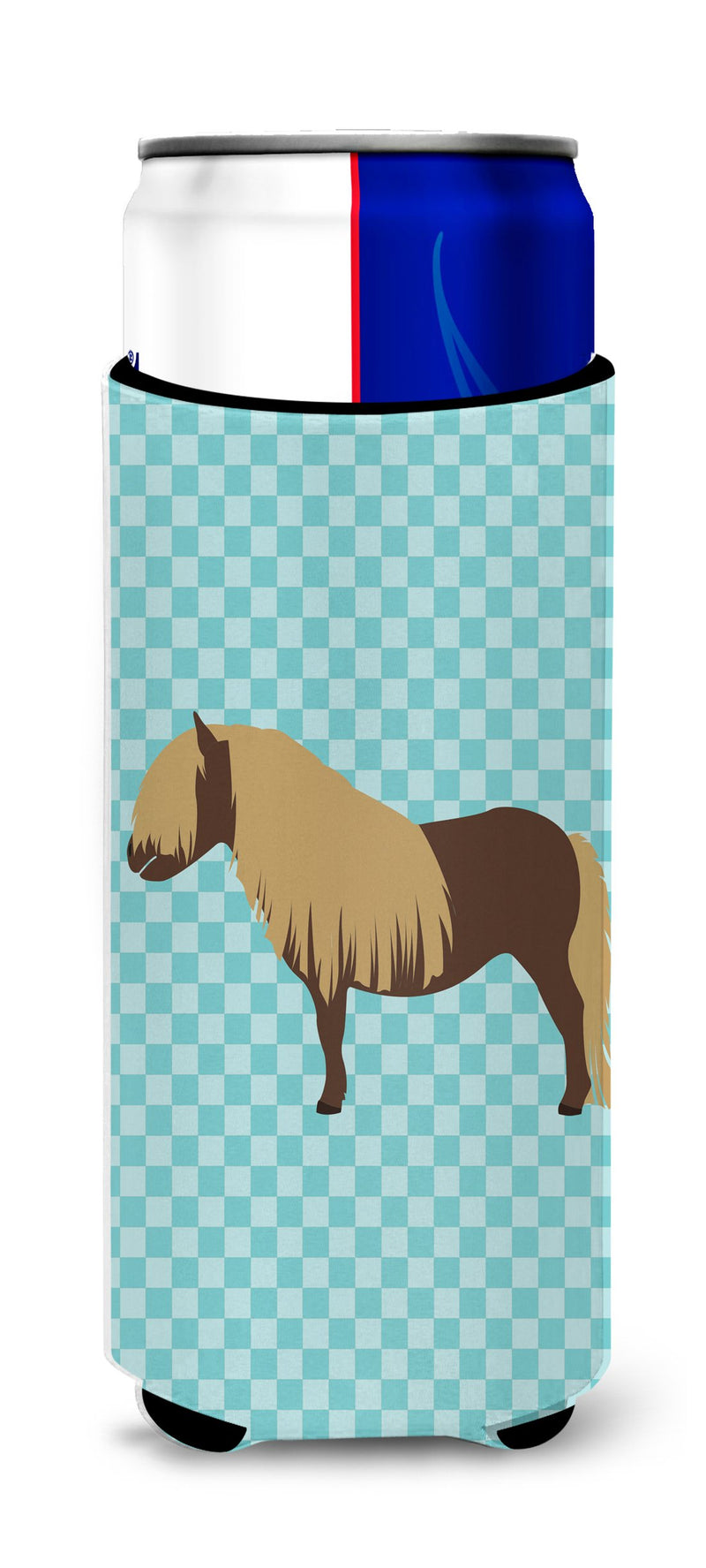 Buy this Shetland Pony Horse Blue Check Michelob Ultra Hugger for slim cans