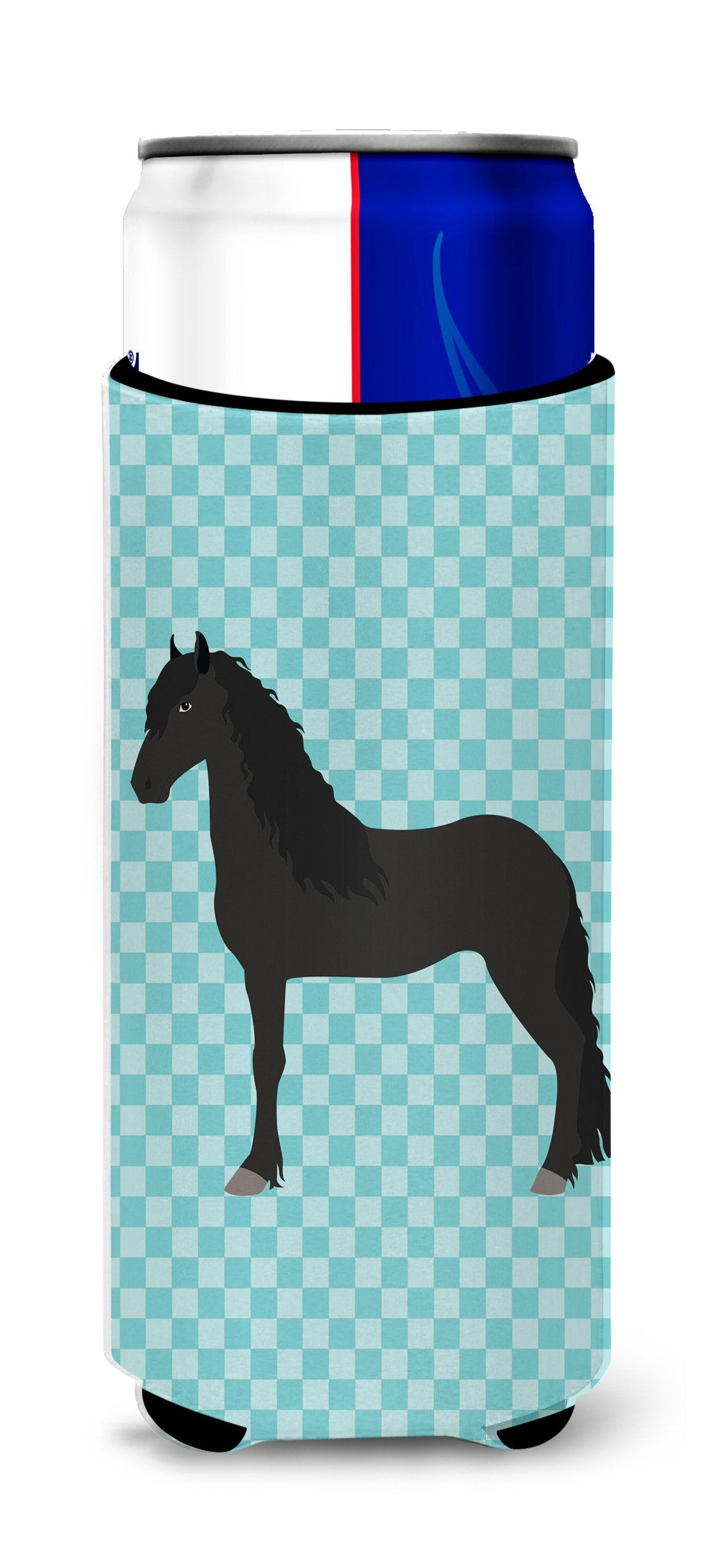 Buy this Friesian Horse Blue Check Michelob Ultra Hugger for slim cans