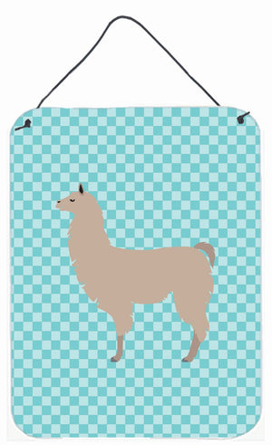 Buy this Llama Blue Check Wall or Door Hanging Prints BB8090DS1216