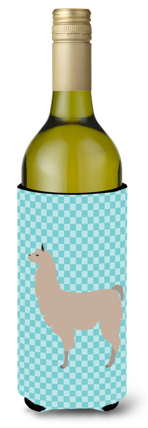 Buy this Llama Blue Check Wine Bottle Beverge Insulator Hugger BB8090LITERK