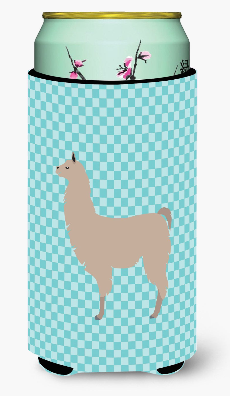 Buy this Llama Blue Check Tall Boy Beverage Insulator Hugger BB8090TBC