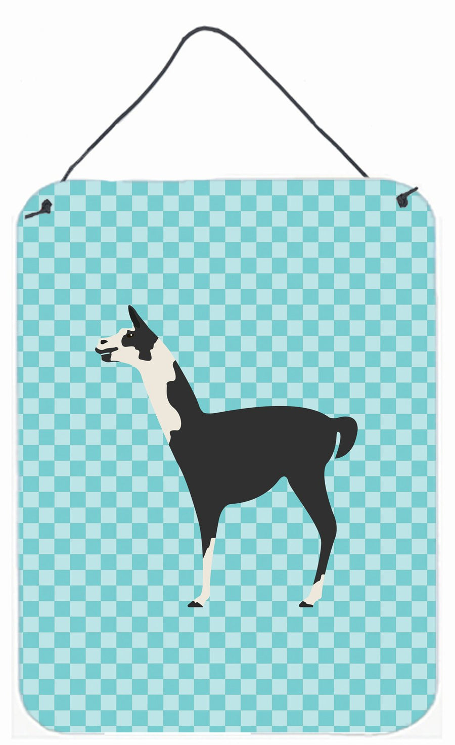 Buy this Llama Q' Ara Blue Check Wall or Door Hanging Prints BB8092DS1216