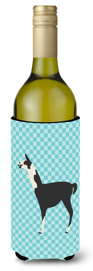 Buy this Llama Q' Ara Blue Check Wine Bottle Beverge Insulator Hugger BB8092LITERK