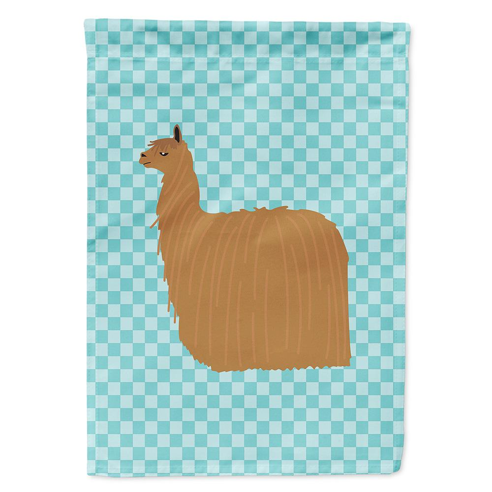 Buy this Alpaca Suri Blue Check Flag Garden Size